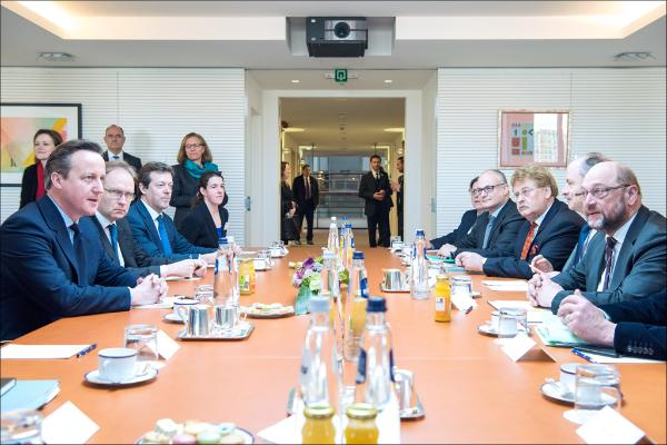 British PM David Cameron (left) meeting EP President Schulz and leading MEPs (Verhofstadt, Gualtieri and Brok)