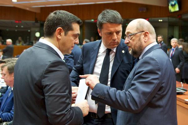 From left to right: Mr Alexis TSIPRAS, Greek Prime Minister; Mr Matteo RENZI, Italian Prime Minister; Mr Martin SCHULZ, President of the European Parliament.