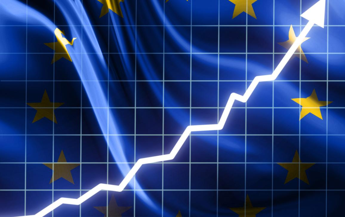 Graph indicating growth against the background of an EU flag