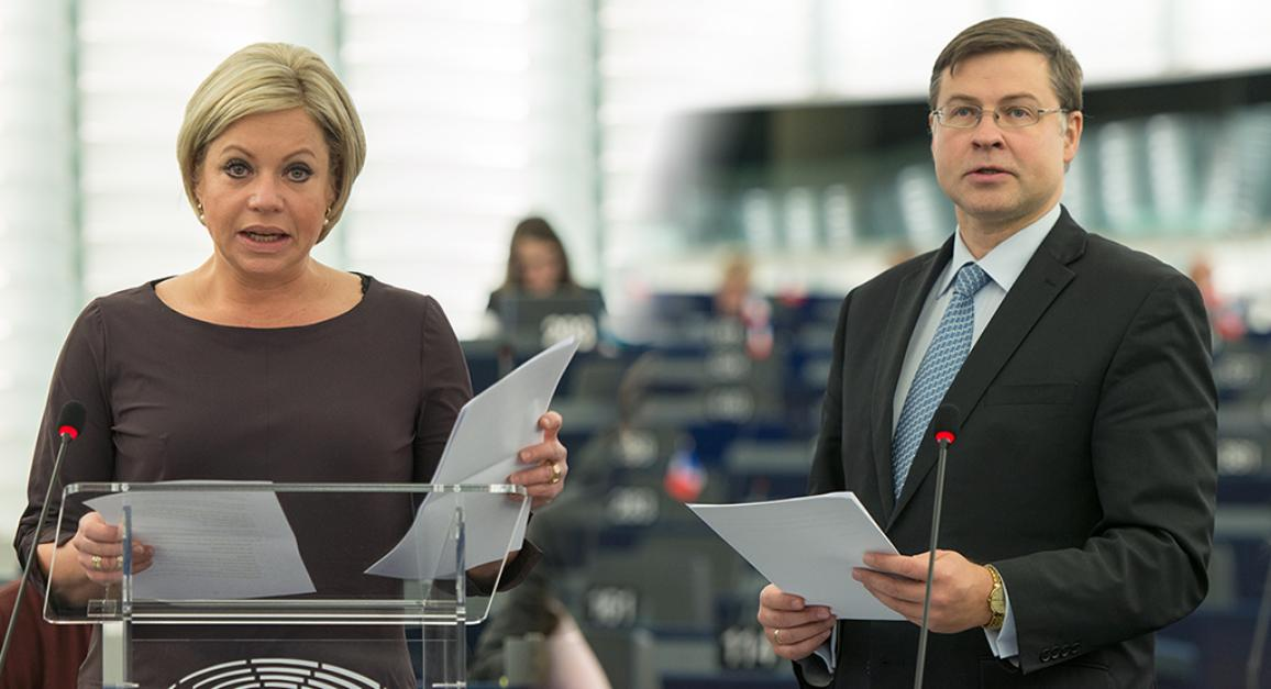 Jeanine Hennis-Plasschaert y Valdis Dombrovskis, durante el debate en el pleno de la Eurocámara ©Unión Europea 2016 - PE.