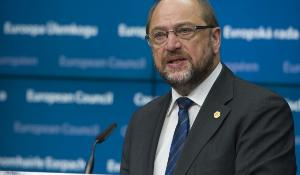 Presidente do Parlamento Europeu Martin Schulz durante a conferência de imprensa no Conselho Europeu