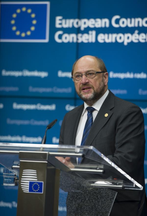 European Parliament President Martin Schulz during the press conference at the European Council