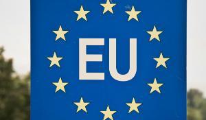 Close up of a EU (European Union) border post on a road ©AP Images/ European Union-EP