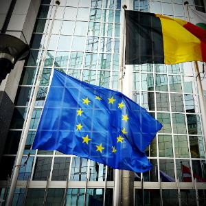 EU flag at half mast outside the European Parliament in Brussels
