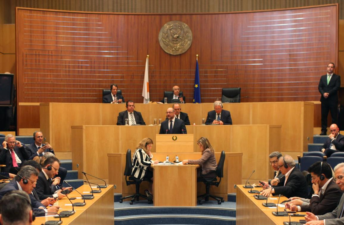 President Schulz  speaking in the plenary chamber of the House of the Representatives_