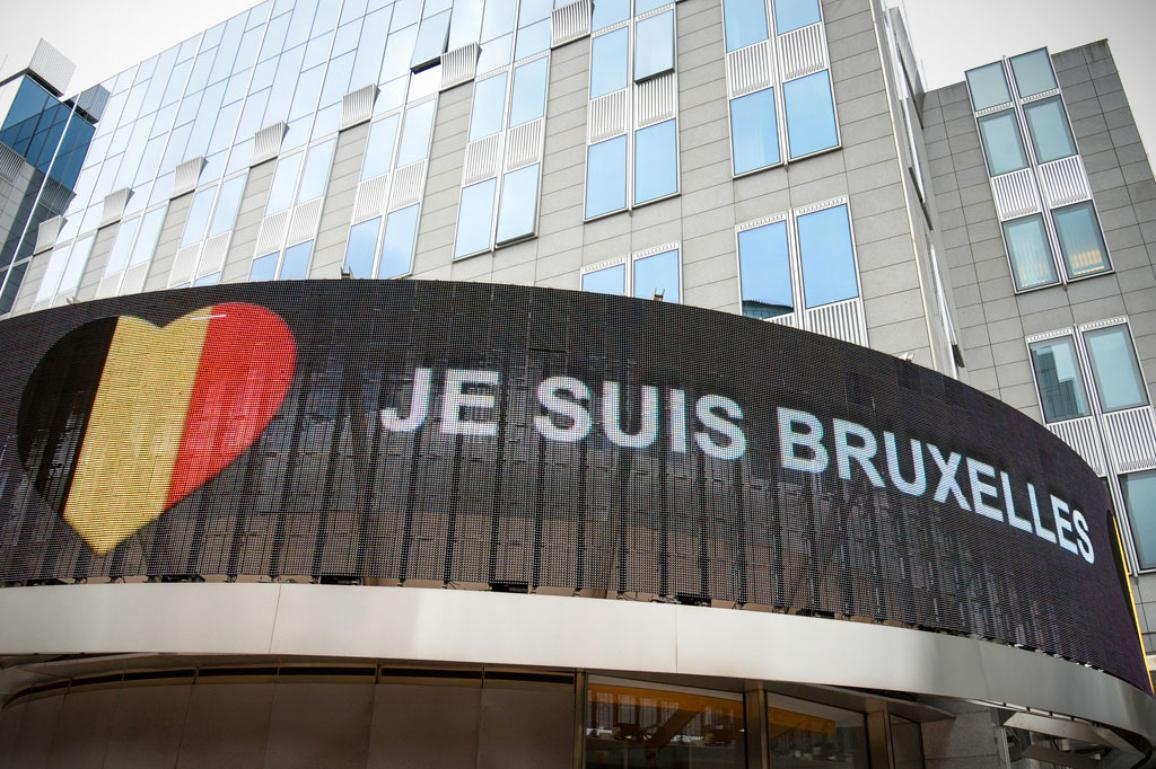 """Je suis Bruxelles"" at the display of Parliamentarium"