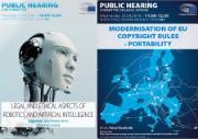 Committee on Legal Affairs; two posters for public hearings; on the left there is a robot's face, very human, light blue background; on the right there is map of the EU with arrows from going from one region to another, representing portability, dark blue background