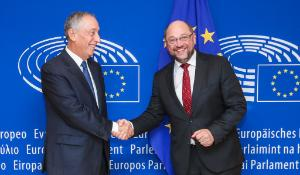 President of Portugal, Marcelo Rebelo de Sousa with Schulz