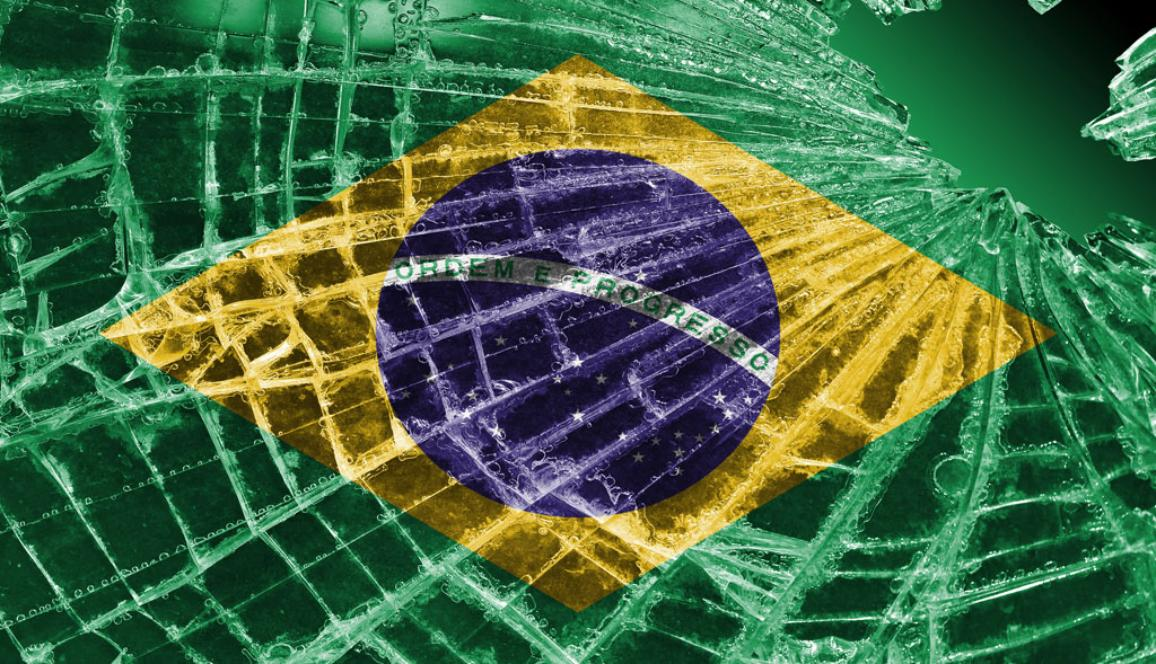 Broken ice or glass with a flag pattern, Brazil