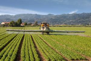 agriculture, tractor spraying pesticides on field farm