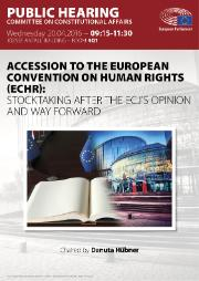 Poster of the hearing on the accession to the european convention on human rights (ECHR)
