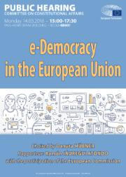 Poster for Hearing on e-Democracy in the EU on 14/03/2016