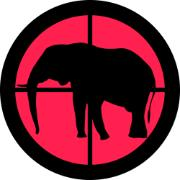 Symbol of an elephant targeted by a hunter, black and red picture
