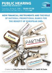 Poster for public hearing, BUDG Committee, New financial instruments and the role of national promotional banks for the benefit of European SMEs
