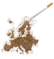 Preview        Save to a lightbox        Find Similar Images    Share                                         Stock Photo:   The country shape of Europe made of tobacco with a cigarette.(
