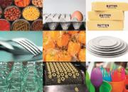 Food contact material from silver and plastic cutlery to plates, glass containers, eggs carton protections, food cans, butter paper packaging to factory moving carpet with biscuits.