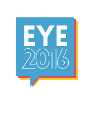 Image of the logo of the European Youth Event 2016, basically the letters E,Y and E and the numbers 2,0,1 and 6.
