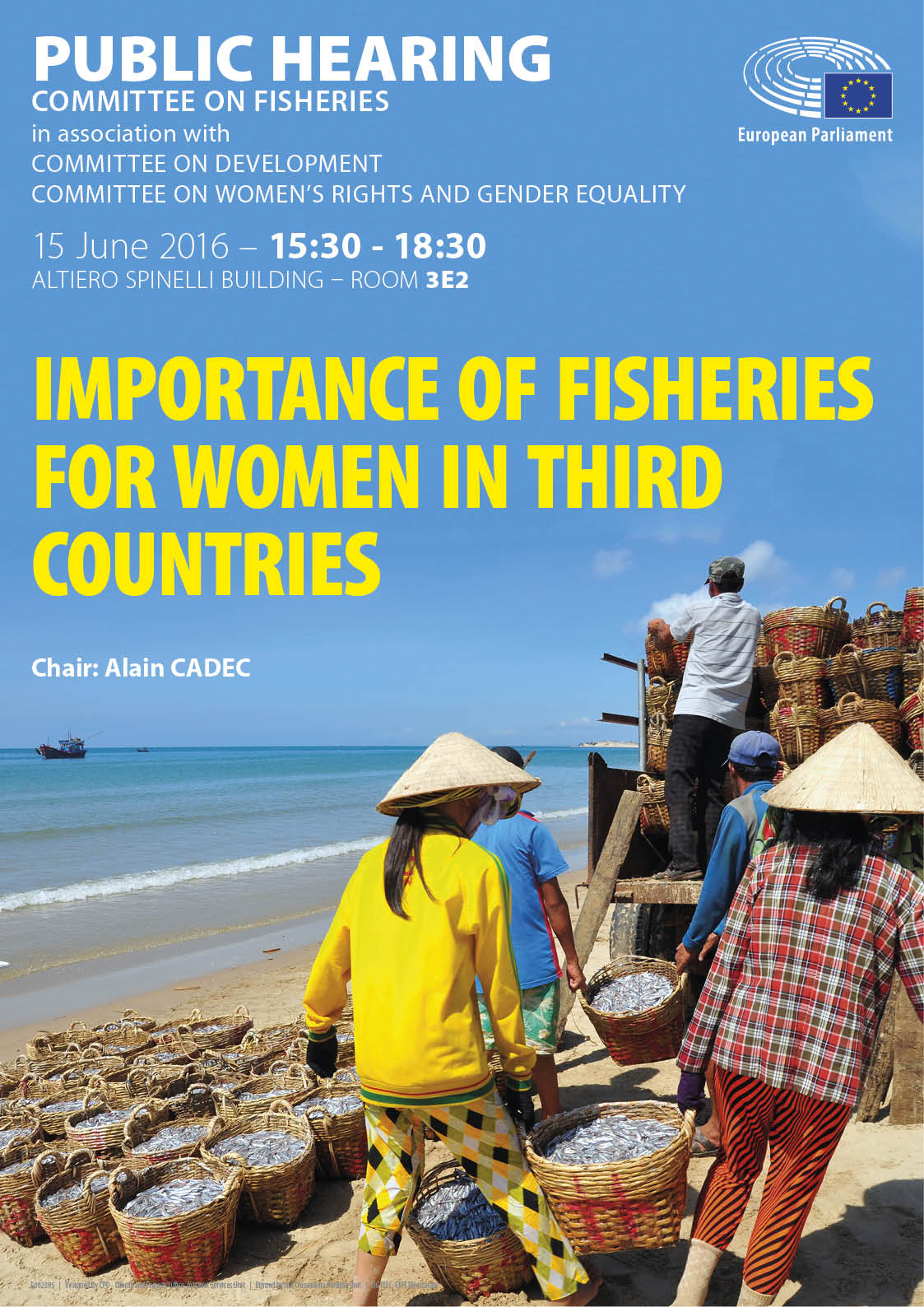 Poster for the public hearing on the importance of fisheries for women in third countries