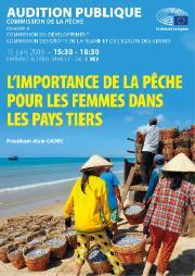 Affiche de l'audition publique sur l'importance de la pêche pour les femmes dans les pays tiers
