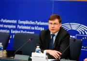 Photo of Commissioner Valdis Dombrovskis at the European Parliament