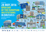 Poster for the EU open days in 2016. Small images of the EU institutions' buildings and some other land marks in Brussels.