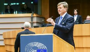 King Willem-Alexander of the Netherlands addresses the European Parliament