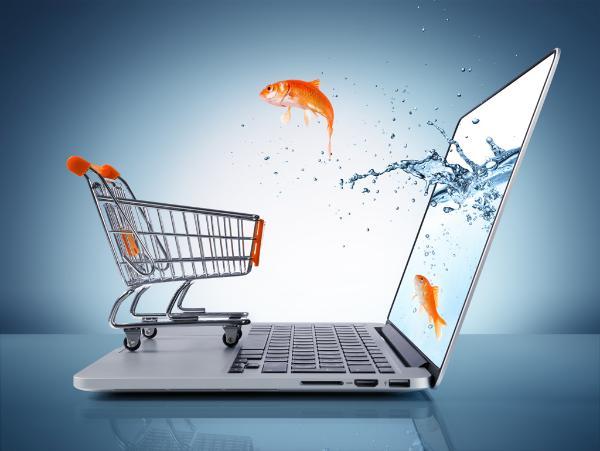 peixe dourado salta do computador para um carrinho de compras de supermercado ©AP Images/ European Union-EP
