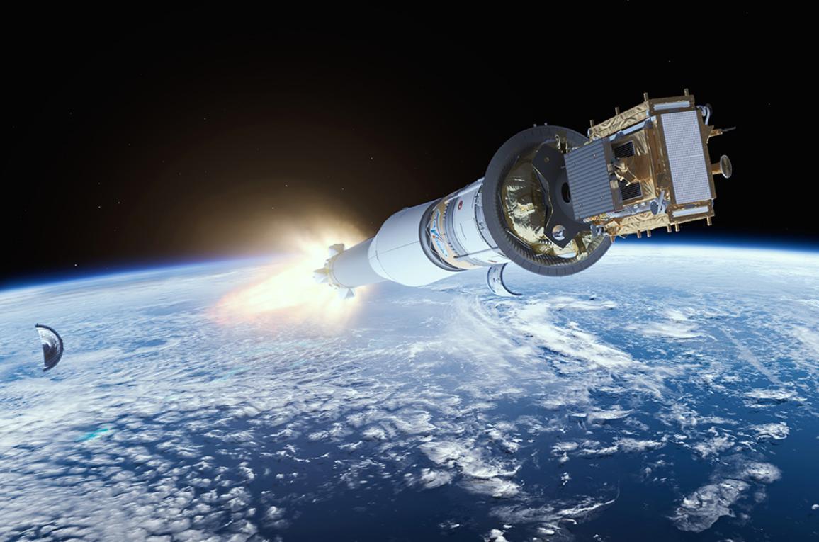 družice Sentinel-1B směřující do vesmíru