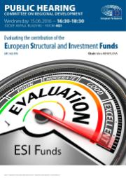 Poster for Public Hearing on Evaluating the contribution of the European Structural and Investment Funds