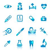 Set of sixteen medical vector icons. Icons can be perfectly applied in graphic design and web or mobile devices. File contain object on separate layers.