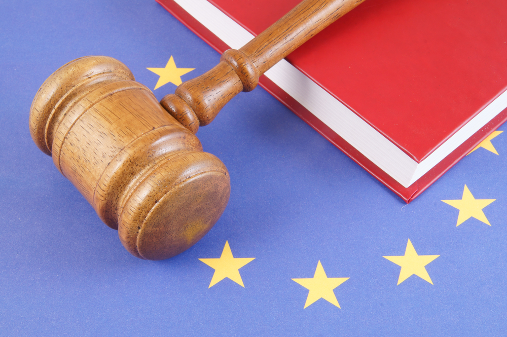 Wooden gavel and legal book on European union flag