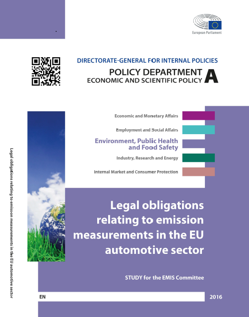First Page: Study - Legal Obligations relating to emission measurements in the EU automotive sector