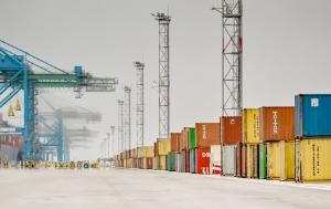 Containers and cranes at Marseille Fos port