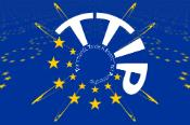 Transatlantic Trade and Investment Partnership symbol on blue background with 13 yellow stars