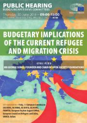 Poster for BUDG/LIBE/AFET/DEVE hearing on budgetary implications of the current refugee and migration crisis
