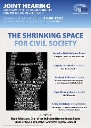 Hearing on the shrinking space of civil society