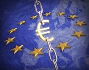 Chain with Euro sign surrounded by 12 stars on blue background with map of Europe