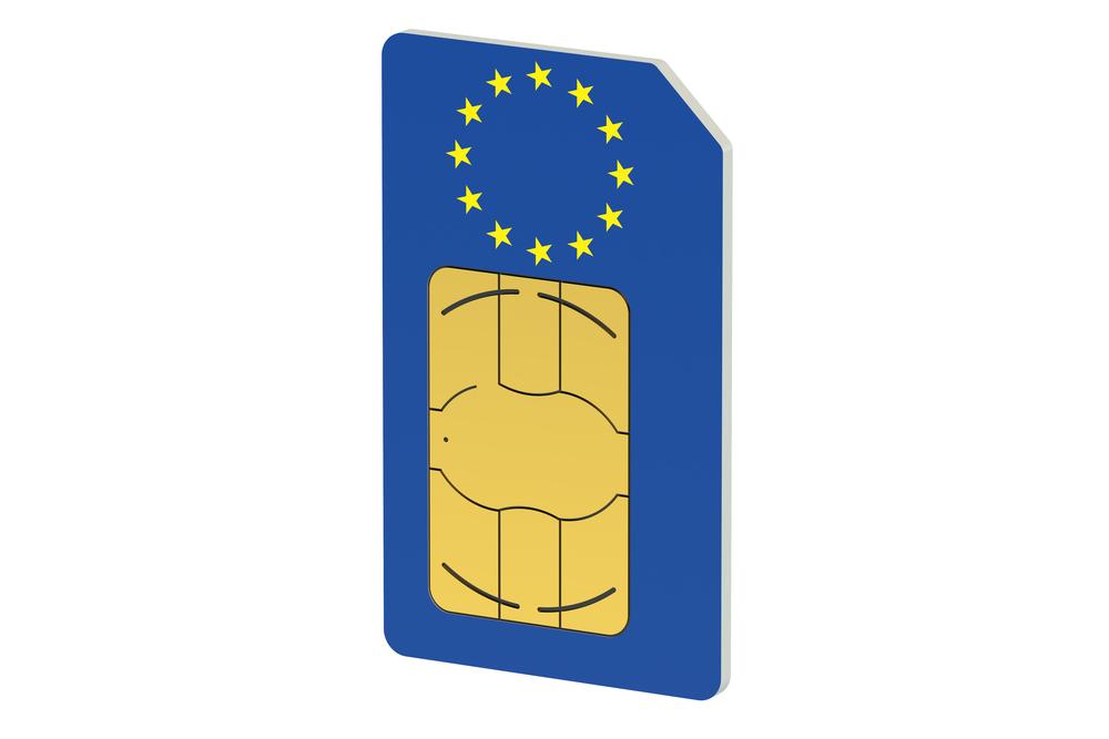SIM card with the EU flag