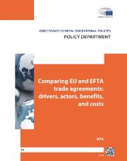 "Title of a study ""Comparing EU and EFTA"" in white letters on orange background"