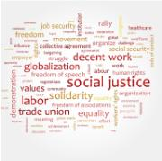 job security, globalization, solidarity, labor, justice and many more words and phrases related to social rights, coloured in yellow and red, in smaller and bigger size, positioned horizontally and vertically