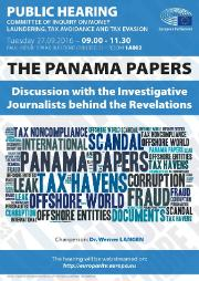 Panama papers – Discussion with the investigative journalists behind the revelations - 27 September 2016