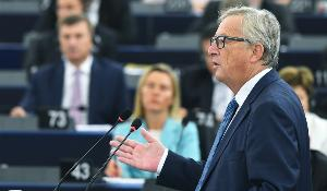 EC President Juncker pictured during the State of the European Union 2016 debate in the EP chamber on Wednesday 14 September 2016