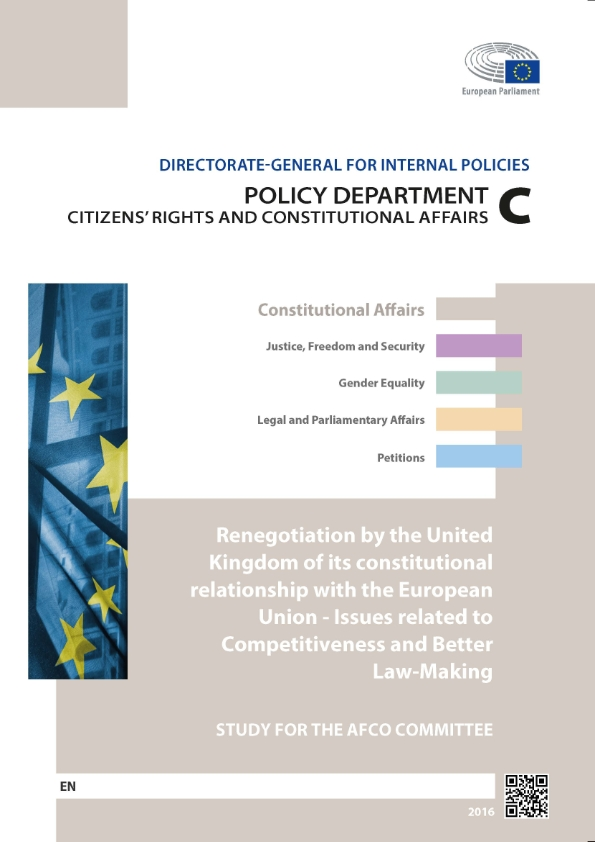 Renegotiation by the United Kingdom of its Constitutional Relationship with the European Union: Issues Related to Competitiveness and Better Law-Making