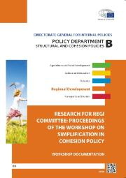 Cover page of a Research for REGI committee: proceedings of the workshop on simplification in cohesion policy