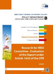 Cover page of a Study on Research for REGI Committee - Evaluation of the Report under Article 16(3) of the CPR