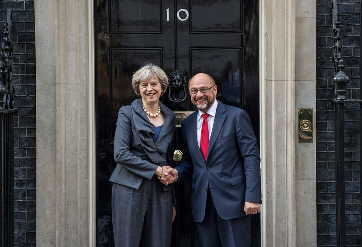 President Schulz and Theresa May _