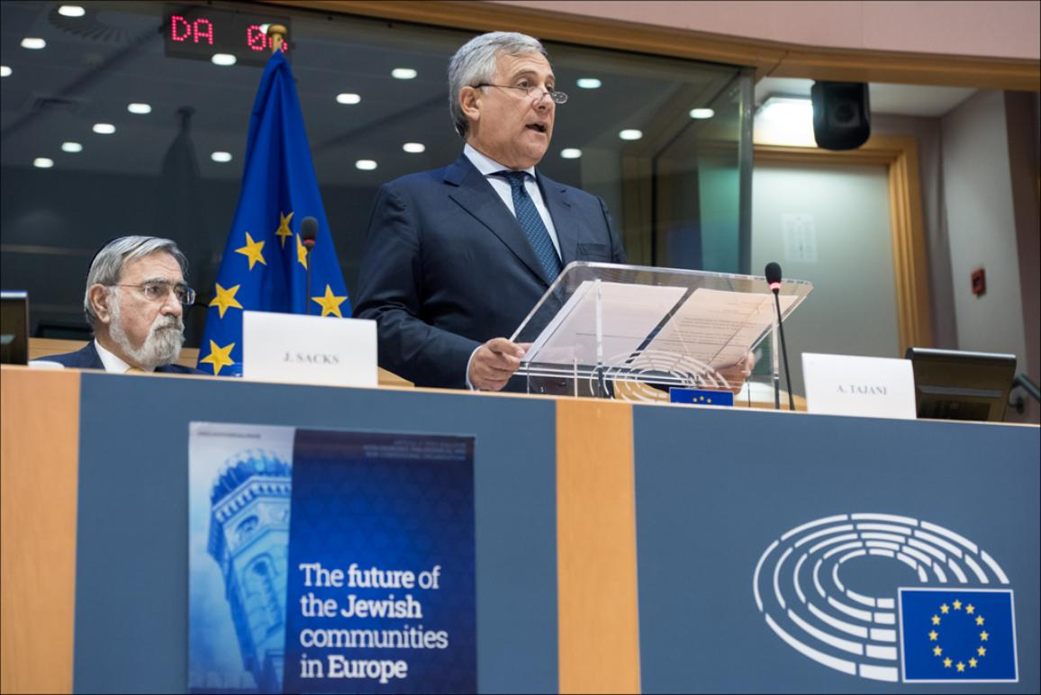 European Parliament First Vice President Antonio Tajani next to Chief Rabbi of the United Hebrew Congregations of the Commonwealth Lord Jonathan Sacks