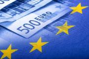 European union flag on a euro money background.