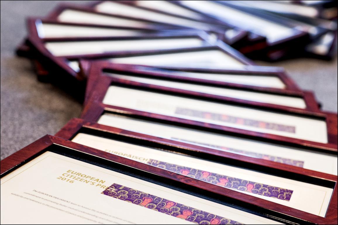 European Citizen's Prize 2016 diplomas