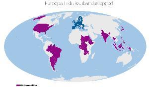 Infograafik: maailma kaardil on välja toodud riigid, kellega EL on pidamas kõnelusi vabakaubandusleppe osas